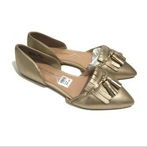 CHRISTIAN SIRIANO 8 Wide Gold d'Orsay Flats NWT